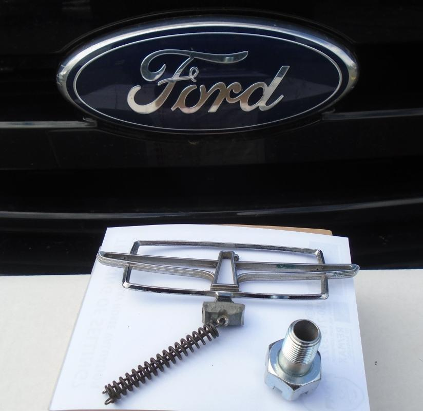 Vtg OEM FORD Thunderbird Hood Ornament Emblem Chrome + New HEAVY DUTY Fastener