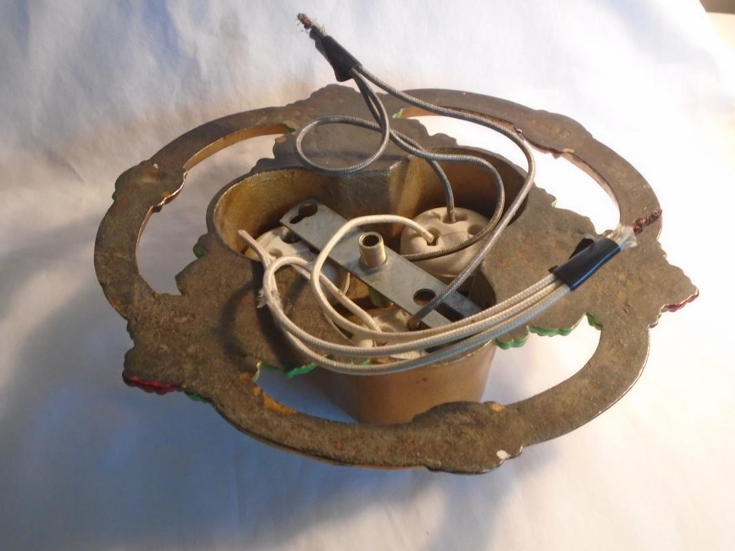 1920s CAST IRON 3 Socket FLUSH Mount CEILING Fixture Chandelier Restored + Rewired Famous Streit Bros Collection