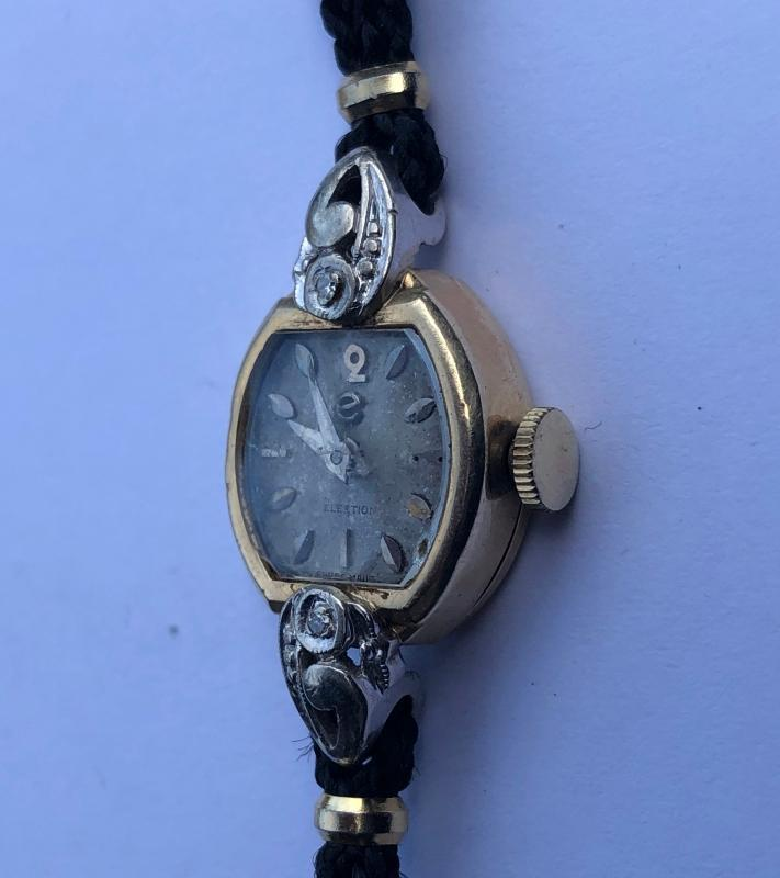 SOLD _1920s Ladies STUART 14k Solid Gold case 2 DIAMONDS + Election mechanical Wind-up wrist watch_For Service