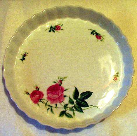 Tart Plate with Pink Roses by Christine Holm