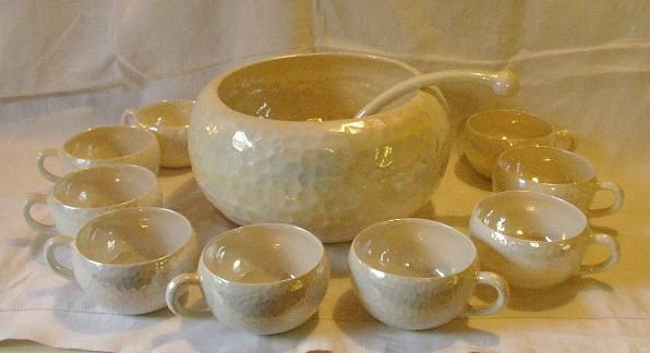 Punch Bowl and Cups with Ladle Mid-Century