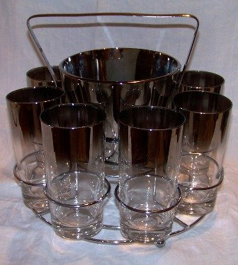 Lusterware Bar Set Ice Bucket and 8 Glasses