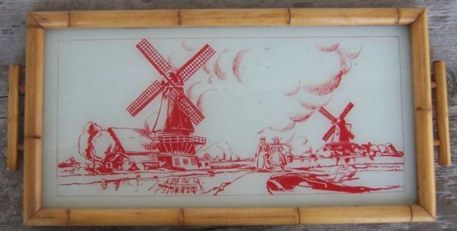 Vintage Red Windmill Glass Tray with Bamboo Frame