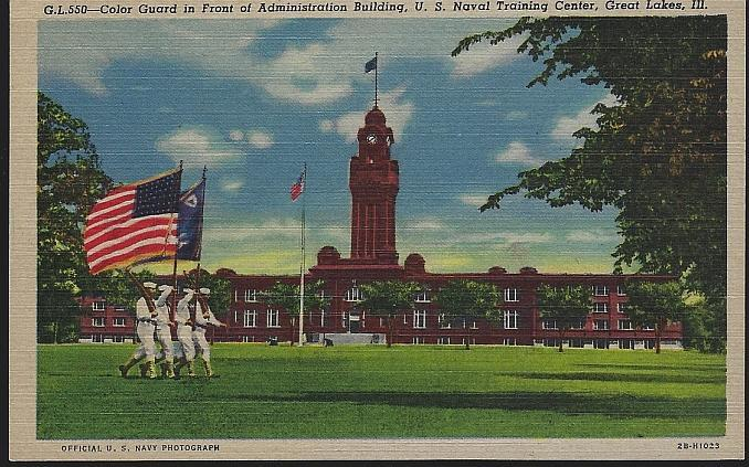 Unused Postcard of Color Guard U.S. Naval Training, Great Lakes, Illinois