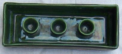 Vintage Bennett Calif Pottery Green/Pink Candleholder