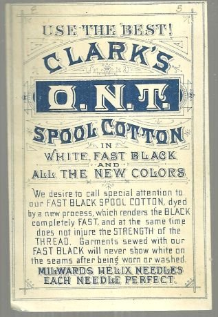 Victorian Trade Card for Clark's Fast Black Spool Cotton with Boy Sewing Pants