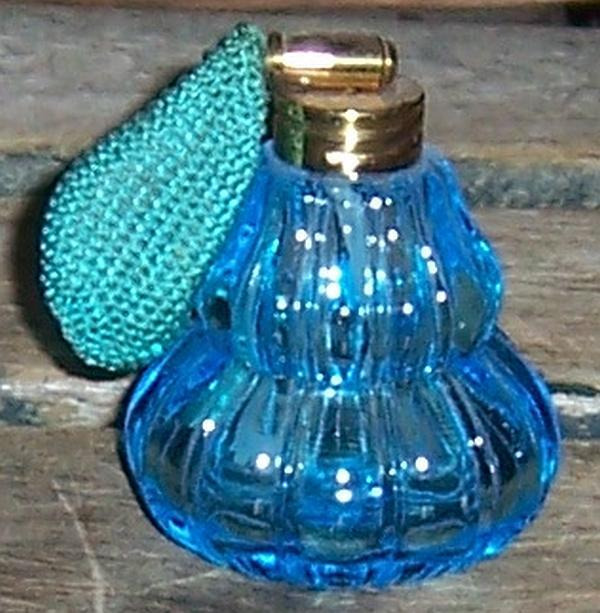 Vintage Blue Glass Perfume Dresser Bottle with Atomizer