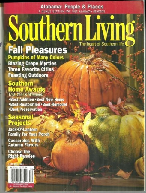 Southern Living Magazine October 2006 Fall Pleasures