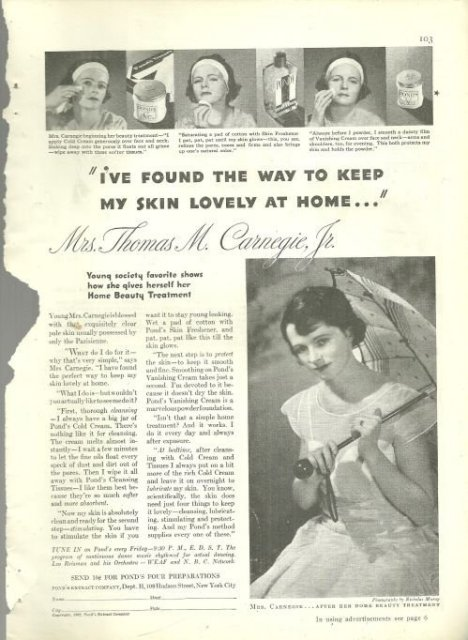 1932 Good Housekeeping Magazine Advertisment for Pond's Cold Cream