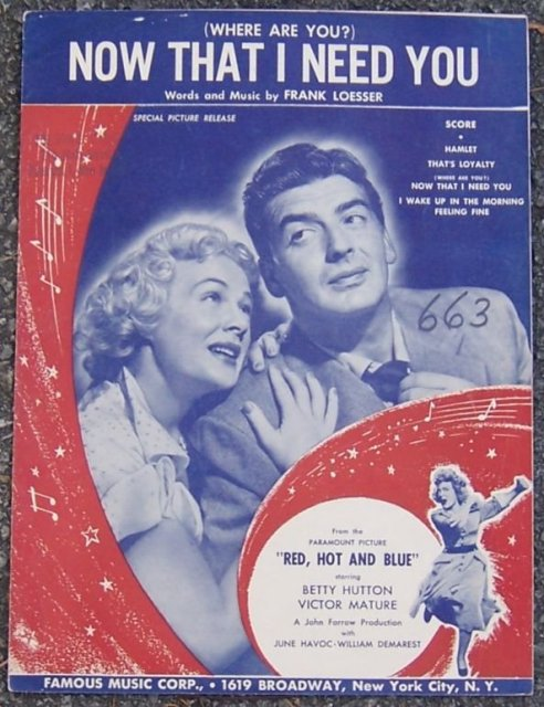 Where Are You Now That I Need You From Red, Hot and Blue Starring Betty Hutton