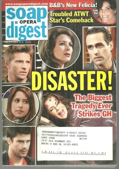 Soap Opera Digest November 8, 2005 General Hospital Disaster on the Cover