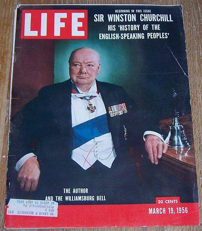 Life Magazine March 19, 1956 Sir Winston Churchill, Ted Williams, Gwen Verdon