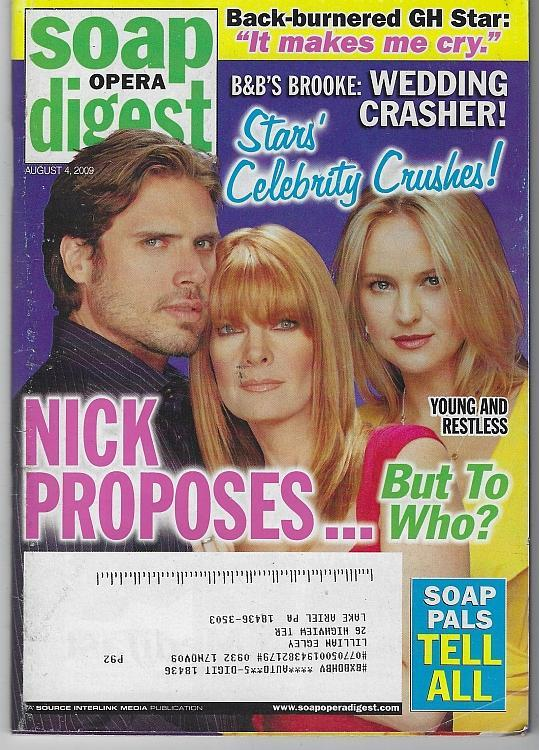 Soap Opera Digest August 4, 2009 Young and Restless Nick Proposes on the Cover