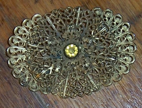 Vintage Gold Tone Fliagree Pin with Yellow Rhinestone Center