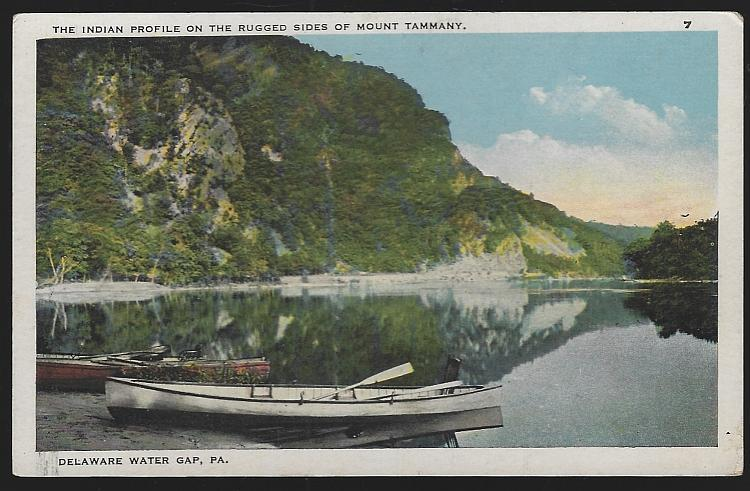 Indian Profile on Mount Tammany, Delaware Water Gap, Pennsylvania Postcard