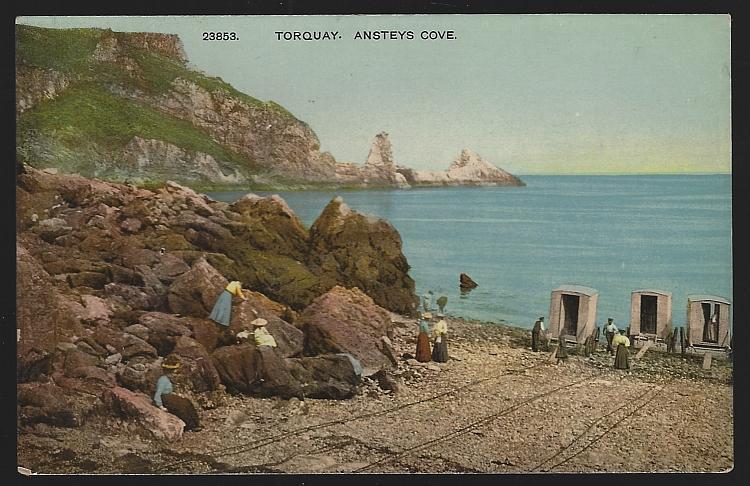 Bathing Machines Lovely Ladies Ansteys Cove, Torquay, United Kingdom Postcard