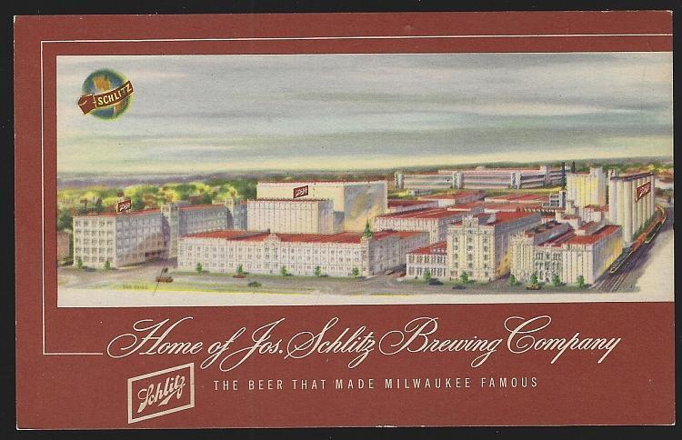 Home of Jos. Schlitz Brewing Company, Milwaukee, Wisconsin Beer 1949 Postcard