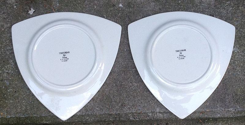 Lot of Two Vintage Salem China Tricorne Mandarin Orange Art Deco Dinner Plates