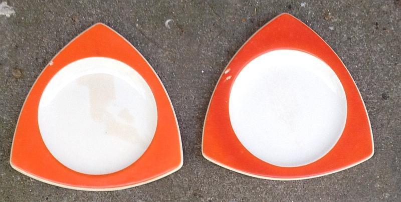 Lot of Two Vintage Salem China Tricorne Mandarin Orange Art Deco Salad Plates