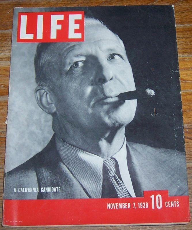 Life Magazine November 7, 1938 California Candidate Cover Sculpture/Jazz