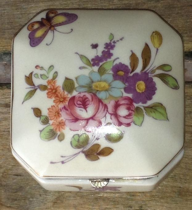 Hinged China Square Trinket Box Flowers Butterfly Vintage Servres Porcelain