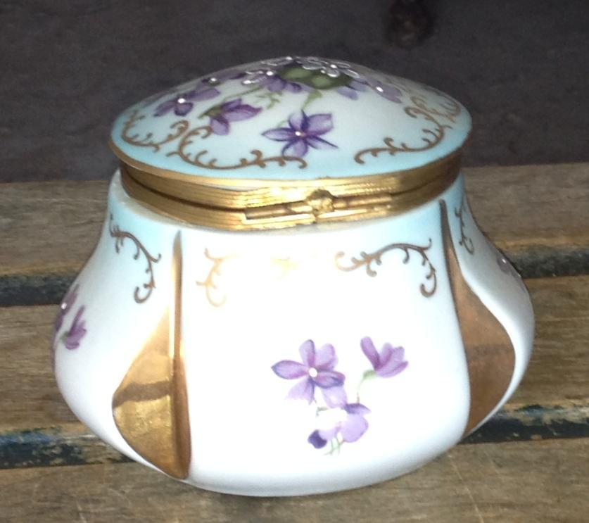Violet Hinged Light Blue China Trinket Box Gold Scrolls Ardco Dallas Japan