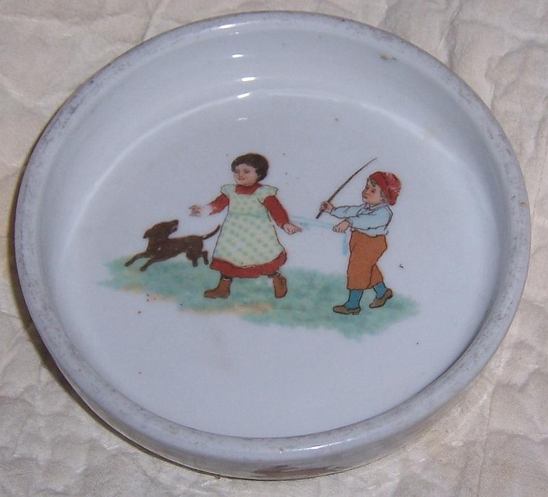 Baby Dish with Boy and Girl Playing with Dog, Bunnies and Cat Germany Antique