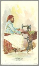 Victorian Trade Card for Singer Sewing Machine With Man from Tunis Sewing