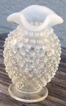 Vintage Anchor Hocking Glass Moonstone Small Vase with Ruffle Top Edge
