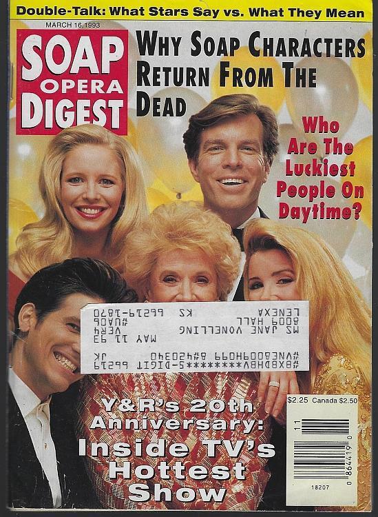 Soap Opera Digest March 16, 1993 Y & R's 20th Anniversary