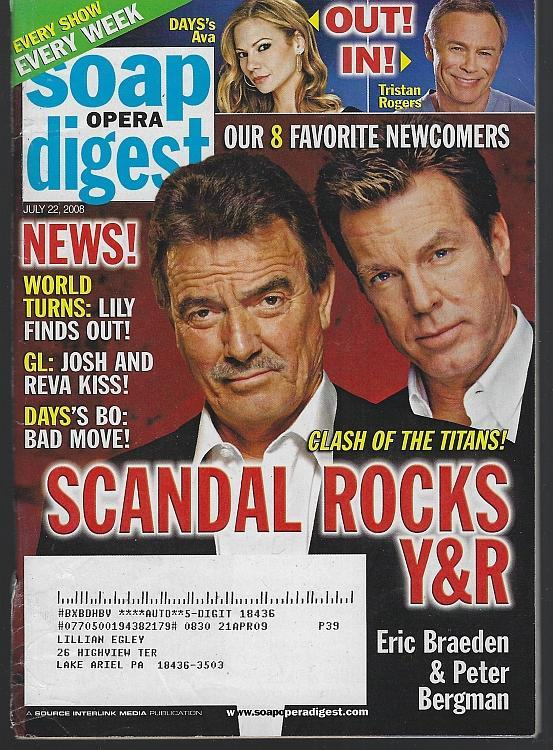 Soap Opera Digest Magazine July 22, 2008 Scandal Rocks Young and Restless