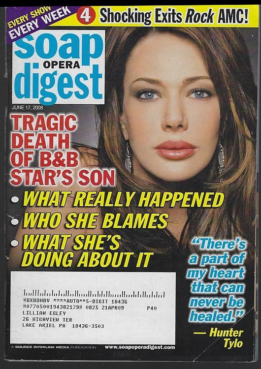 Soap Opera Digest Magazine June 17, 2008 Hunter Tylo on the Cover
