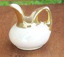Vintage Miniature Pitcher White Lustre Glaze with Gold Top