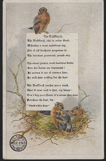 Victorian Trade Card for Clark's Mile End Spool Cotton with the Bullfinch