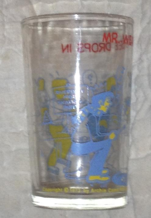 Vintage Archie Welch's Jelly Drinking Glass Mr. Weatherbee Drops In Skating 1973