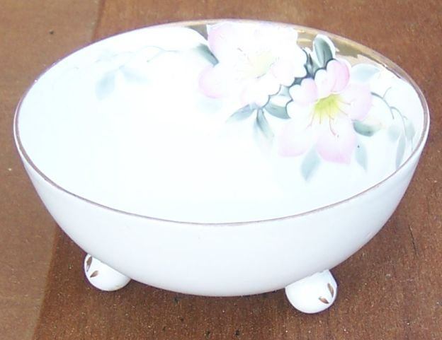 Vintage Nippon China Three Footed Bowl with Pink Flowers and Gold Trim