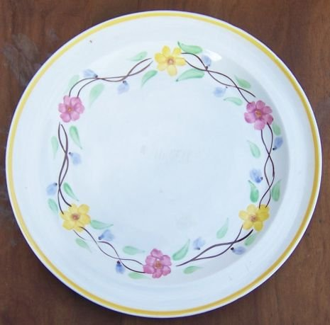 Vintage Blue Ridge Pottery Dinner Plate with Pink and Yellow Flower Garland