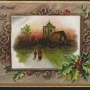 Tuck's Christmas Blessings Postcard Couple Walking to Church 1909 Holly Oak
