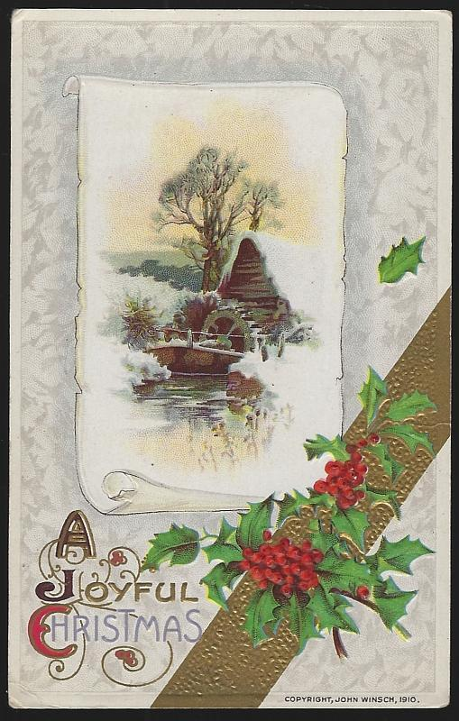 Joyful Christmas Postcard with Snowy Mill and Holly Vintage Unused