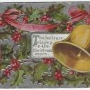 Christmas Postcard with Golden Bells Ringing Christmas Morn Surrounded Holly
