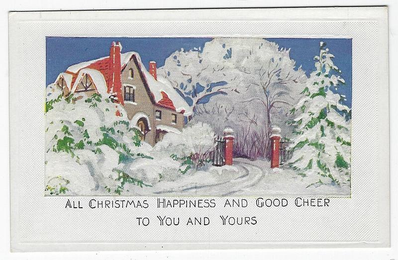 Christmas Happiness and Good Cheer Postcard with Snowy House Vintage Unused