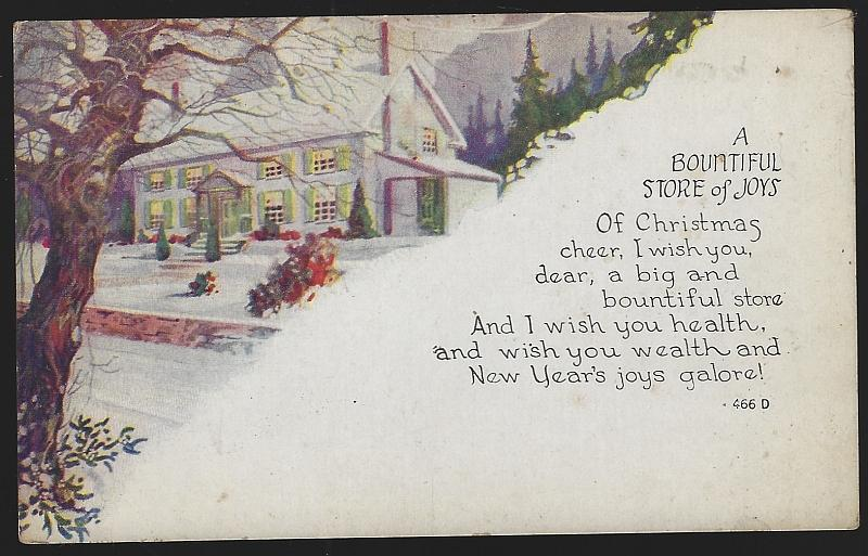 Bountiful Joys of Christmas Cheer and New Year's Joy Postcard with Snowy House