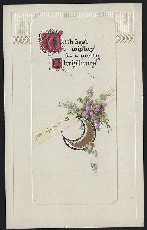 Best Wishes Merry Christmas Postcard with Purple Flowers and Gold Moon
