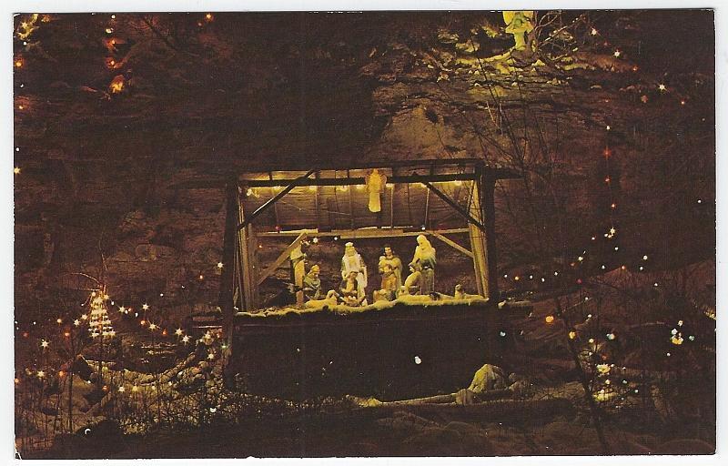 Annual Christmas Lighting at Ludlow Falls, Ohio Manger Vintage Postcard