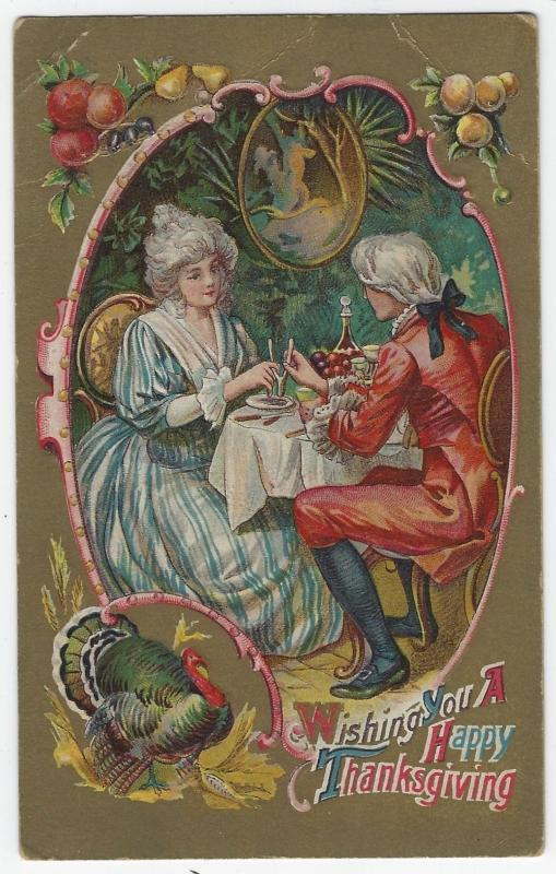 Happy Thanksgiving Postcard with Colonial Couple Pulling Wishbone with Turkey