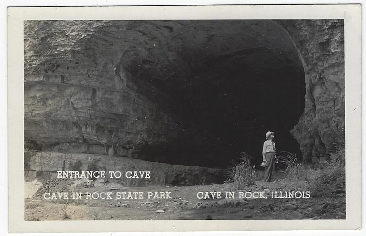Real Photo Postcard Entrance to Cave, Cave in the Rock State Park, Illinois