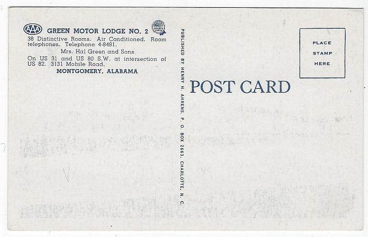 Green Motor Lodge No. 2, US 31 Montgomery, Alabama Vintage Unused Postcard