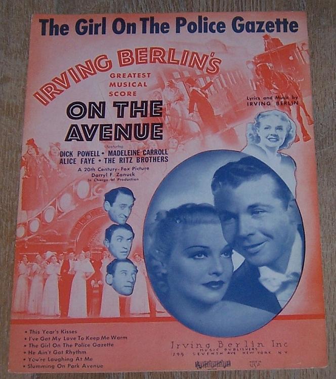 Girl on the Police Gazette Dick Powell Alice Faye 1937 Vintage Movie Sheet Music