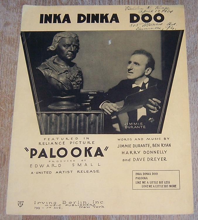 Inka Dinka Doo From Palooka Jimmie Durante 1933 Vintage Movie Sheet Music