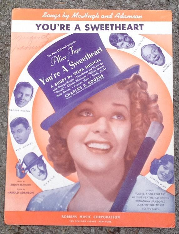 You're a Sweetheart Alice Faye George Murphy 1937 Vintage Movie Sheet Music